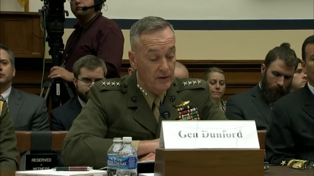 chairman of the joint chiefs of staff joseph dunford describes his view of the military campaign against the islamic state discusses air strikes... - joint chiefs of staff stock videos and b-roll footage