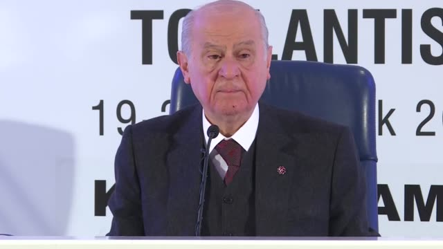 Chairman of the opposition Nationalist Movement Party Devlet Bahceli speaks at a news conference in Kizilcahamam near capital Ankara Turkey on...
