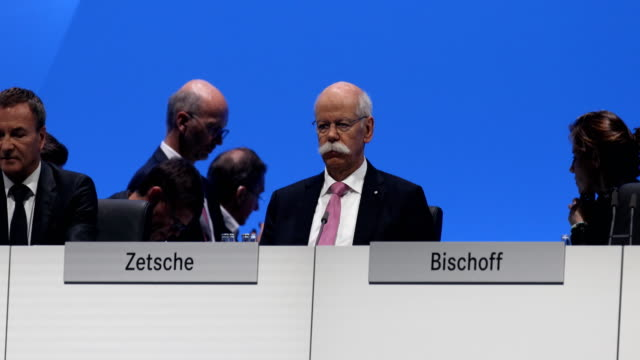 chairman of the supervisory board of daimler ag, manfred bischoff speaks about ceo dieter zetsche during the annual daimler ag shareholders meeting... - annual general meeting stock videos & royalty-free footage