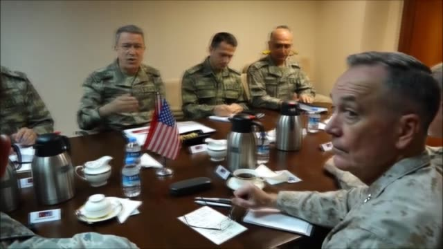 chairman of the us joint chiefs general joseph dunford and chief of the general staff of the turkish armed forces hulusi akar meet at 10th tanker... - joint chiefs of staff stock videos and b-roll footage