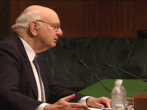 chairman paul volcker speaks during a joint economic committee hearing on the economy. - business or economy or employment and labor or financial market or finance or agriculture stock videos & royalty-free footage