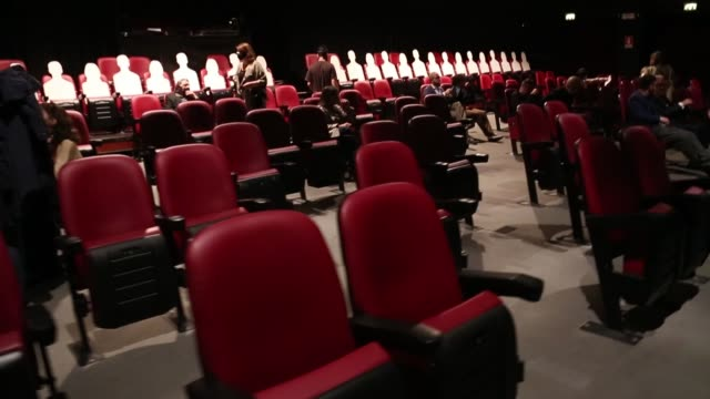 stockvideo's en b-roll-footage met chairs are empty between spectators arriving at teatro menotti for the first midnight performance after three months of lockdown on june 15 2020 in... - theater