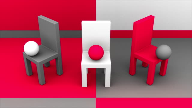 chairs, bouncing balls and copyspace in red white gray - customised stock videos & royalty-free footage