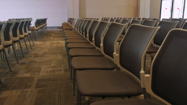 chairs in seminar room shot on smart phone - geographical locations stock videos & royalty-free footage