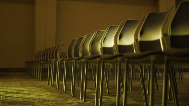 chairs in seminar room - decoration stock videos & royalty-free footage