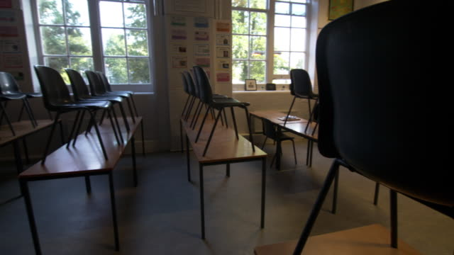 chairs on top of desks in a school classroom - no people stock videos & royalty-free footage
