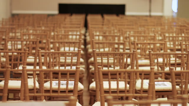 chairs seating at gala event - chairs in a row stock videos & royalty-free footage