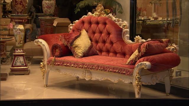 cu chaise lounge on window display of furniture store, north tehran, iran - ornate stock videos and b-roll footage