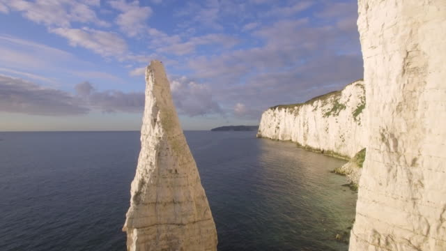 Chalk cliffs near Old Harry Rocks on the Dorset coast, Isle of Purbeck, Dorset, United Kingdom