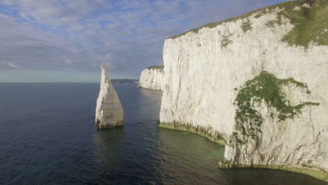 chalk cliffs near old harry rocks on the dorset coast, isle of purbeck, dorset, united kingdom - kent england stock videos & royalty-free footage