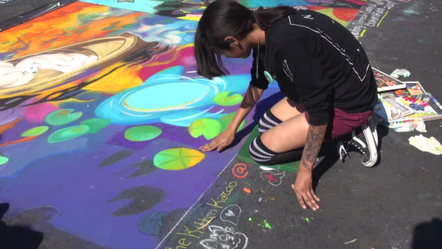 chalk festival - chalk art equipment stock videos & royalty-free footage