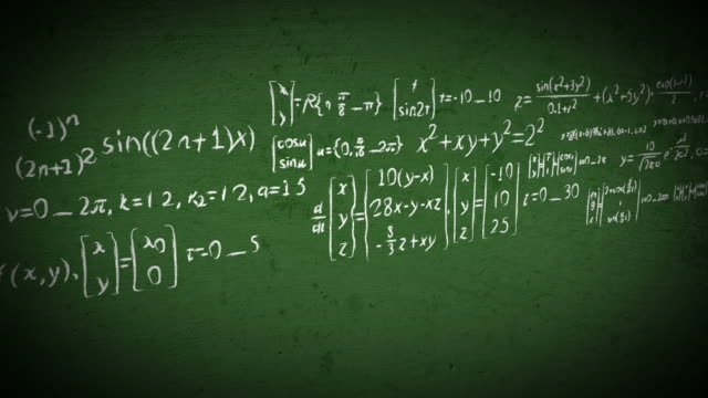 Chalkboard math equations scrolling