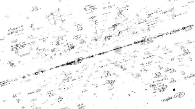 黒板 - 科学、数学、化学方程式 - ズームイン点の映像素材/bロール