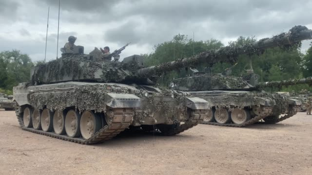 challenger 2 main battle tanks from the queen's royal hussars during a training exercise on salisbury plain training area on july 03, 2020 in... - tank stock videos & royalty-free footage
