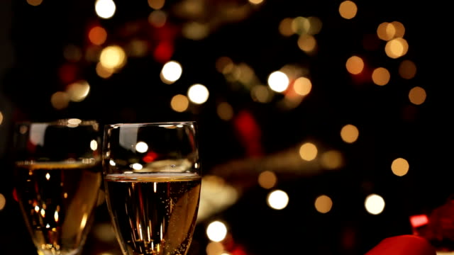 Champagne and  Christmas decoration