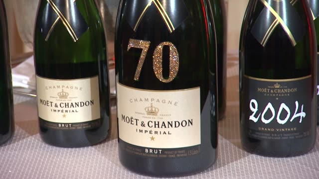 atmosphere champagne at the beverly hilton unveils menu for 70th annual golden globe awards atmosphere champagne at the beverly hilton unveil at the... - the beverly hilton hotel stock videos & royalty-free footage