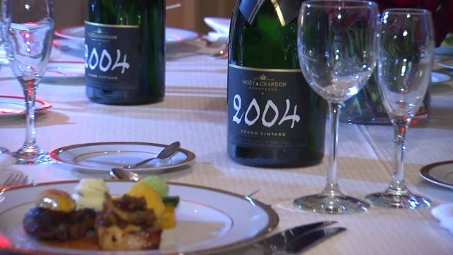 atmosphere champagne bottle at the beverly hilton unveils menu for 70th annual golden globe awards atmosphere champagne bottle at the beverly hilton... - the beverly hilton hotel stock videos & royalty-free footage