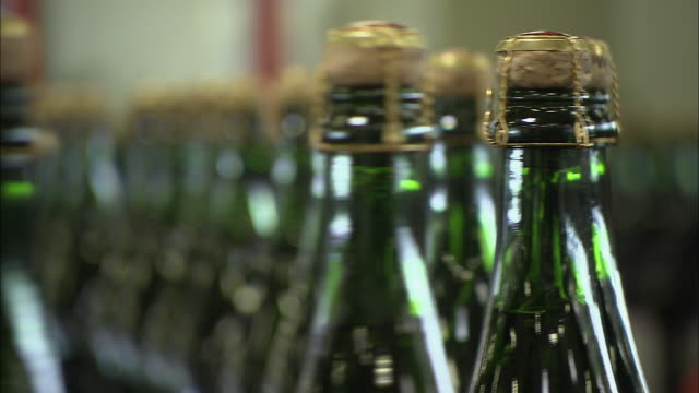 cu r/f champagne bottles on conveyor belt in production factory / reims, champagne, france - champagne stock videos & royalty-free footage