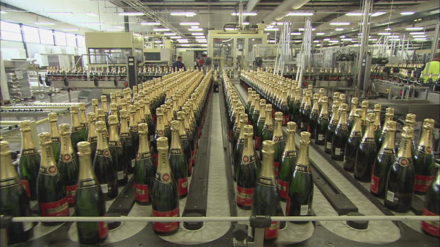 ws champagne bottles on conveyor belt / reims, champagne, france - champagne stock videos & royalty-free footage