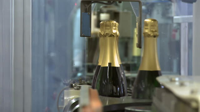 cu champagne bottles on production line / wiltingen, saar-valley, rhineland-palatinate, germany - bottling plant stock videos and b-roll footage