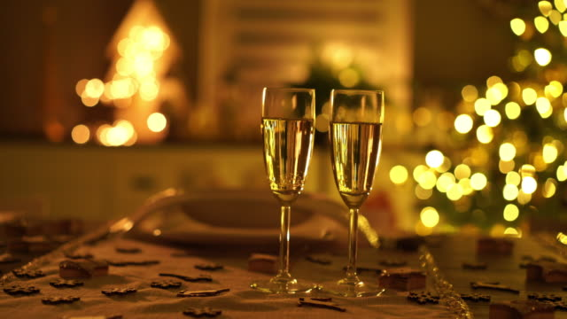 champagne glasses on christmas table