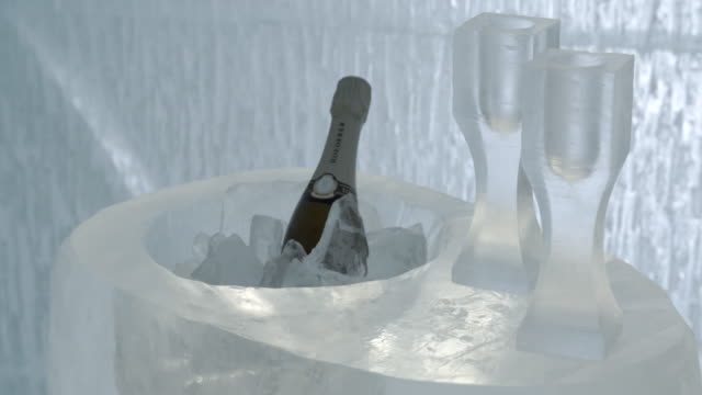 Champagne on ice with ice glasses / Jukkasjarvi, Sweden