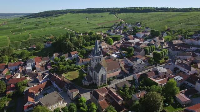 vidéos et rushes de champagne region, aerial view of ville dommange - village