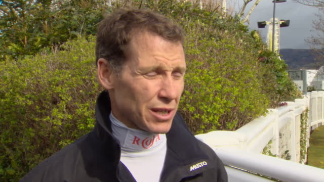 "champion jockey richard johnson saying the cancellation of races due to coronavirus is ""frustrating"" - cheltenham stock videos & royalty-free footage"