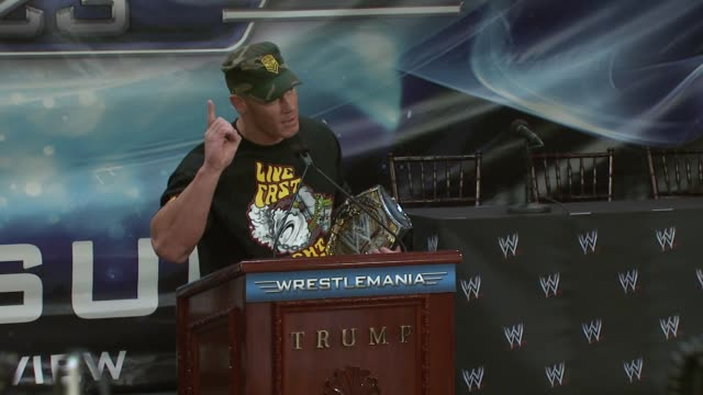 wwe champion john cena on wrestlemania 23 and watching wrestlemania 3 with his father twenty years ago at the donald trump and world wrestling... - cena stock videos & royalty-free footage