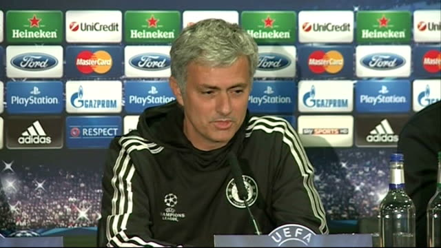 chelsea beaten by atletico madrid in semifinal 2942014 england london stamford bridge int john terry and jose mourinho arriving at press conference... - semifinal round stock videos & royalty-free footage