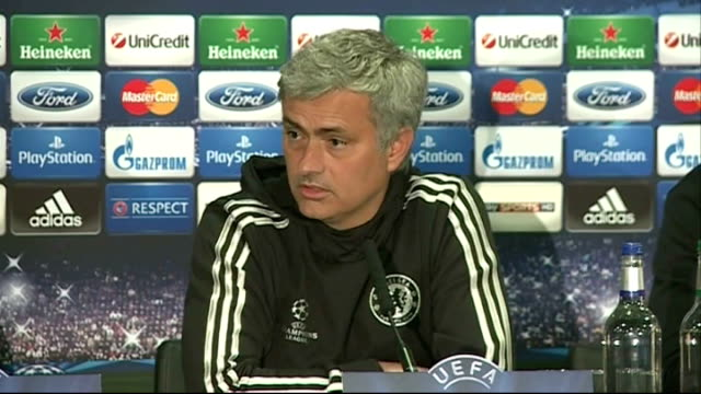 chelsea beaten by atletico madrid in semifinal 2942014 england london stamford bridge int jose mourinho press conference sot [on john terry] he lost... - スタンフォードブリッジ点の映像素材/bロール