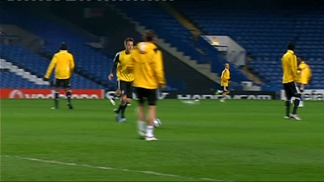 Chelsea train before game against Juventus Players training including Paulo Ferreira Drogba Ashley Cole