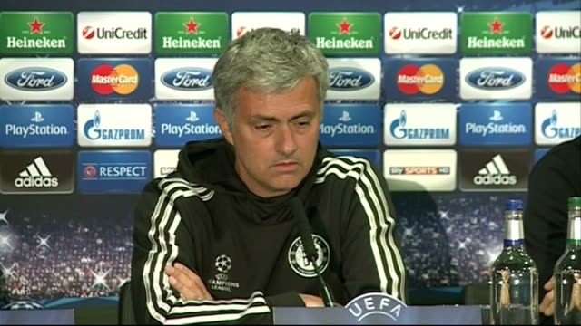 chelsea v atletico madrid: chelsea press conference; mourinho press conference sot - on winning premiership match against liverpool and reaction of... - philosophy stock videos & royalty-free footage