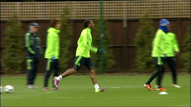 chelsea v manchester united preview england ext various views of chelsea in training session before their uefa champions league first leg quarter... - first leg stock videos and b-roll footage