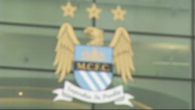Bayern Munich beat Borussia Dortmund Etihad Stadium Manchester City badge on stadium