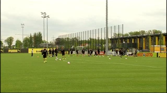 Bayern Munich beat Borussia Dortmund LOCATION Various of Borussia Dortmund team at training session
