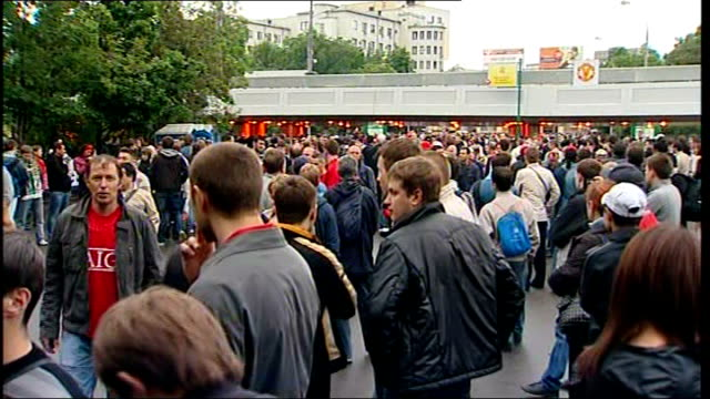 chelsea v manchester united buildup luzhniki stadium fans millling around outside stadium before match and general view luzhniki stadium - luzhniki stadium stock videos & royalty-free footage