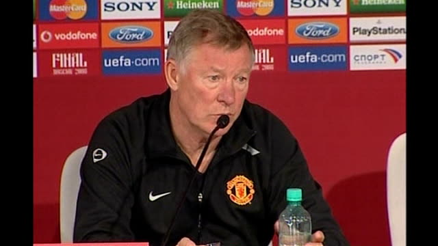 Ferguson reacts to victory RUSSIAN FEDERATION Moscow INT Sir Alex Ferguson press conference SOT Compares his teams Champions League final victory to...
