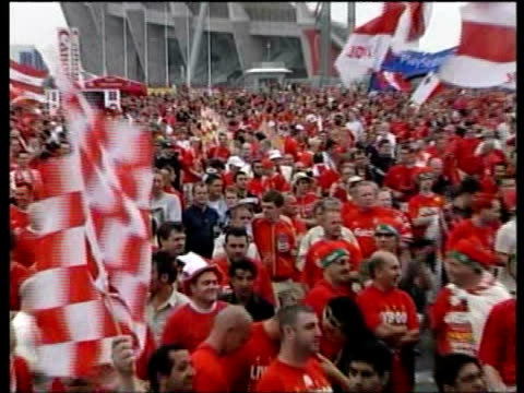 Liverpool win TURKEY Istanbul Ataturk Stadium Large crowd of Liverpool football supporters gathered before Champions League final match PULL OUT...
