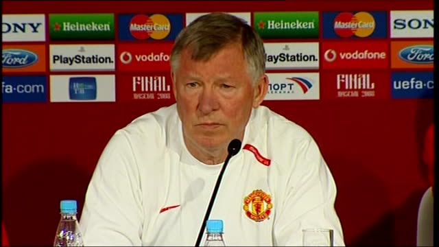 Manchester United press conference / training session Ferguson press conference SOT Happy turf has been laid no fears pitch will be fine On last...