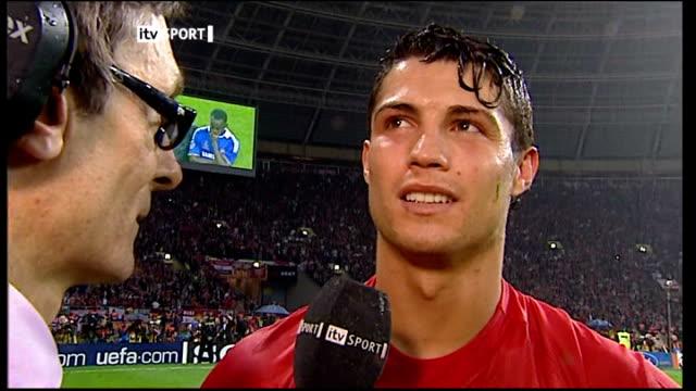 Manchester United win penalty shoot out Christiano Ronaldo interview SOT Sir Alex Ferguson interview SOT