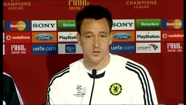 worries about pitch condition at Luzhniki Stadium Chelsea FC training session featuring John Terry John Terry press conference SOT On playing surface...