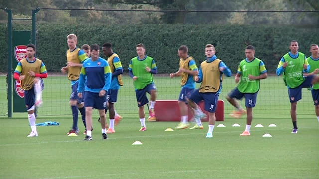 Arsenal v Borussia Dortmund preview 1592014 ENGLAND Hertfordshire London Colney EXT Arsenal training session