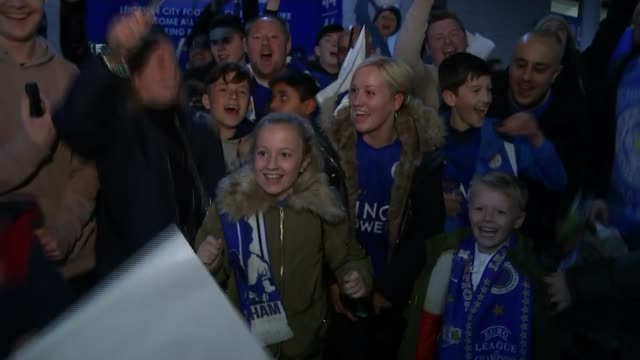 leicester city through to quarter finals; england: leicester: king power stadium: ext / night various shots of leicester city fans singing and... - quarterfinal round stock videos & royalty-free footage