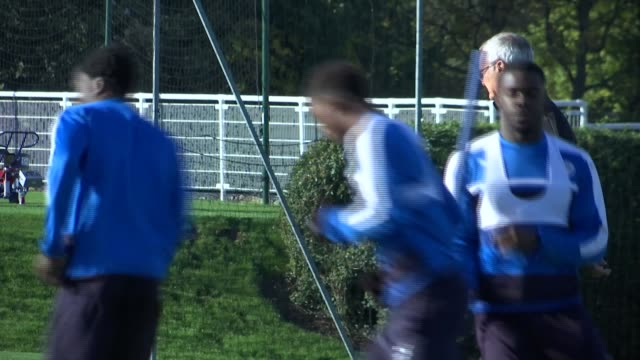 Leicester City training session ENGLAND Leicestershire Leicester EXT Various of Leicester City players training ahead of UEFA Champions League match...