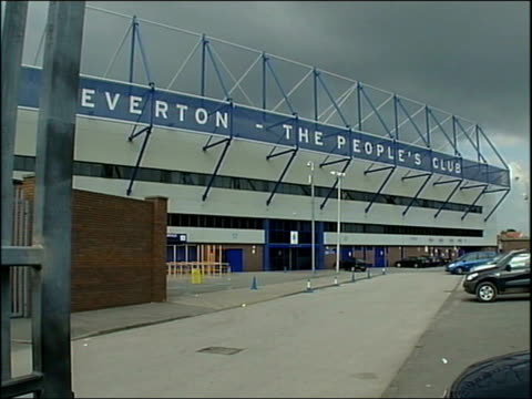 liverpool allowed to defend title goodison park gvs exterior of everton fc goodison park radio city peter mcdowell interview sot the city is divided... - t in the park stock-videos und b-roll-filmmaterial