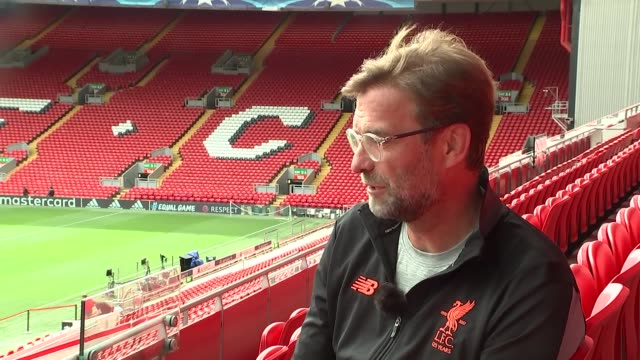 Liverpool prepare for semifinal against AS Roma Klopp interview ENGLAND Liverpool Anfield EXT Jurgen Klopp interview ahead of semifinal UEFA match...