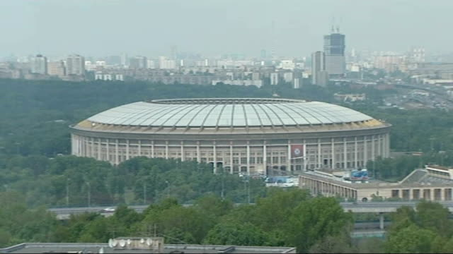 moscow prepares for chelsea v manchester united final luzhniki stadium ext **music overlaid sot** general view of luzhniki stadium manchester united... - luzhniki stadium stock videos & royalty-free footage