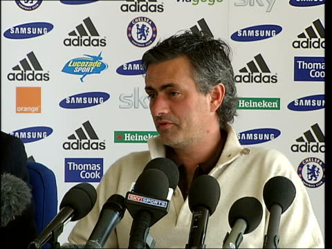 vidéos et rushes de champions league qaurter final draw england london jose mourinho press conference sot comments on forthcoming champions league quarter final match... - quart de finale