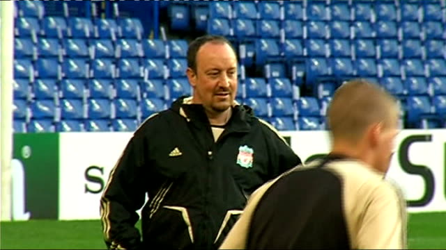 second leg preview EXT General views Liverpool training session including shots of Rafa Benitez